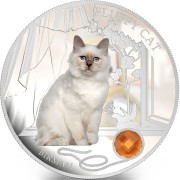 Fiji FLUFFY CAT - BIRMAN SACRED $2 Silver Coin 2013 Gem inlay Proof 1 oz