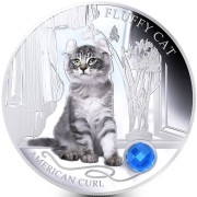 Fiji FLUFFY CAT - AMERICAN CURL $2 Silver Coin 2013 Gem inlay Proof 1 oz