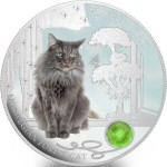 Fiji FLUFFY CAT - NORWEGIAN FOREST CAT $2 Silver Coin 2014 Gem inlay Proof 1 oz