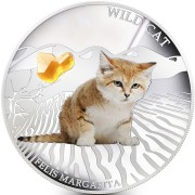 Fiji WILD CAT - FELIS MARGARITA $2 Silver Coin 2013 Gem inlay Proof 1 oz