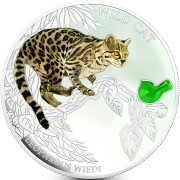 Fiji WILD CAT - LEOPARDUS WIEDII MARGAY $2 Silver Coin 2013 Gem inlay Proof 1 oz
