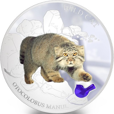 Fiji WILD CAT - OTOCOLOBUS MANUL PALLAS $2 Silver Coin 2013 Gem inlay Proof 1 oz
