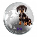 Fiji MY BEST FRIEND - DACHSHUND DOG $2 Silver Coin 2013 Gem inlay Proof 1 oz