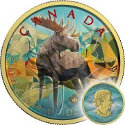 Canada ELK Canadian Maple Leaf series THEMATIC DESIGN $5 Silver Coin 2017 Gold plated 1 oz