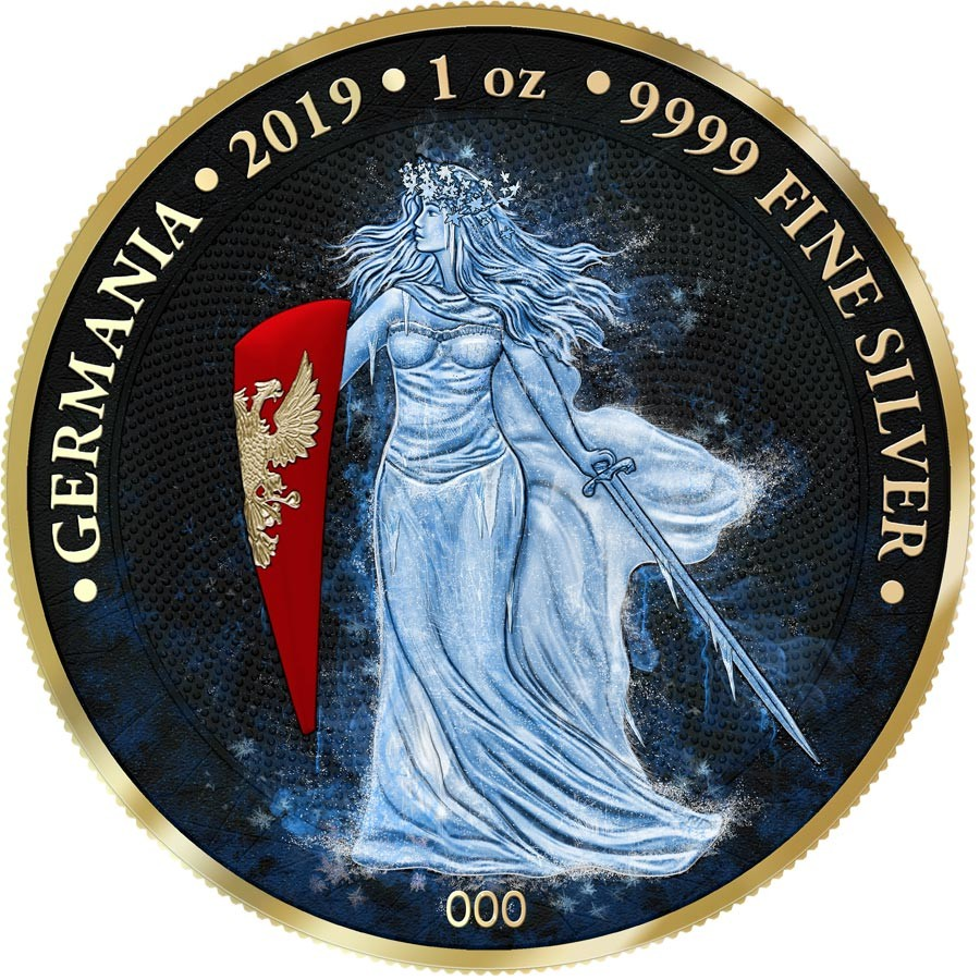 2019 Germany 5 Mark GERMANIA 1 Oz Proof Silver Coin.