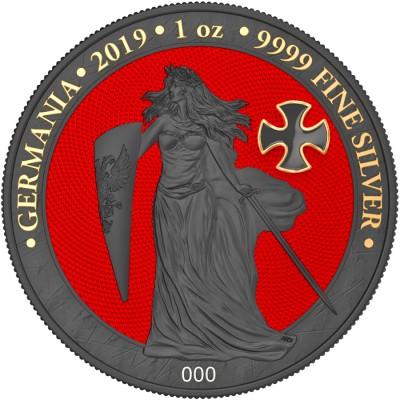 Germania IRON CROSS 5 Mark Silver Coin 2019 Ruthenium plated 3D Shaped Cross 1 oz
