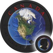 Canada OUR PLANET Canadian Maple Leaf series THEMATIC DESIGN $5 Silver Coin 2017 Ruthenium plated 1 oz