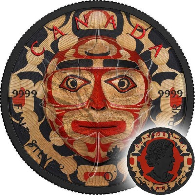 Canada MOON MASK NATIVE AMERICAN Canadian Maple Leaf series THEMATIC DESIGN $5 Silver Coin 2017 Ruthenium plated 1 oz