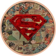 Canada SUPERMAN COMICS Canadian Maple Leaf $5 Silver Coin 2016 High relief of S-logo Rose Gold plated 1 oz