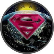Canada SUPERMAN EARTH Canadian Maple Leaf $5 Silver Coin 2016 High relief of S-logo Ruthenium plated 1 oz
