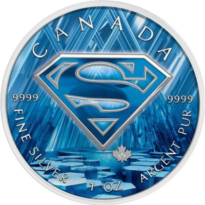 Canada SUPERMAN FROZEN CASTLE Canadian Maple Leaf $5 Silver Coin 2016 High relief of S-logo 1 oz