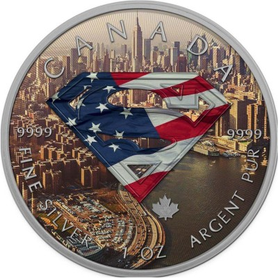 Canada SUPERMAN NEW YORK Canadian Maple Leaf $5 Silver Coin 2016 High relief of S-logo Antique finish 1 oz