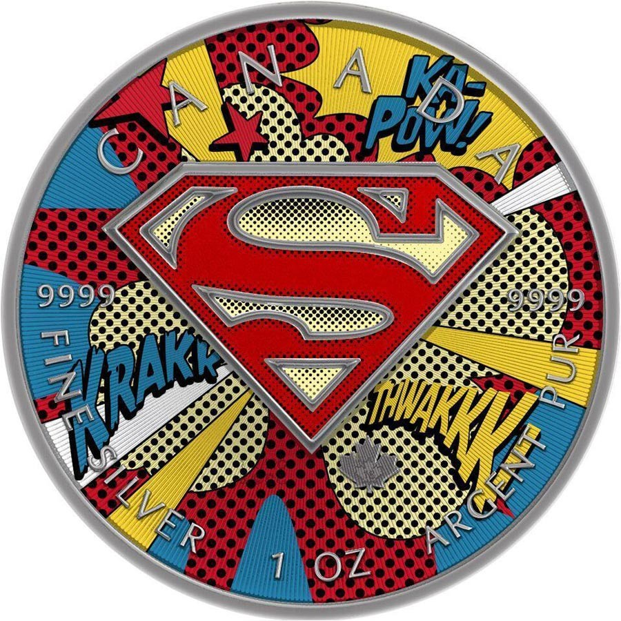 Canada Superman Pop Art Canadian Maple Leaf 5 Silver Coin