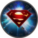 Canada SUPERMAN SPACE Canadian Maple Leaf $5 Silver Coin 2016 High relief of S-logo Ruthenium plated 1 oz