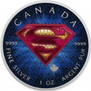 Canada SUPERMAN SUIT TEXTURE Canadian Maple Leaf $5 Silver Coin 2016 High relief of S-logo 1 oz
