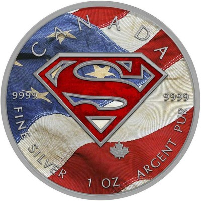 Canada SUPERMAN US FLAG Canadian Maple Leaf $5 Silver Coin 2016 High relief of S-logo 1 oz
