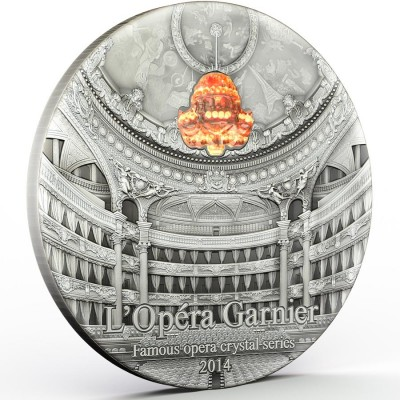 Palau PARIS OPERA GARNIER Series FAMOUS OPERA CRYSTAL $10 Silver coin 2014 Antique finish Ultra High Relief 2 oz