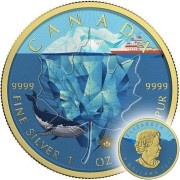 Canada POLAR GLACIER Canadian Maple Leaf series THEMATIC DESIGN $5 Silver Coin 2017 Gold plated 1 oz