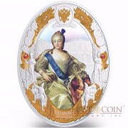 Niue island ELIZABETH I series RUSSIAN EMPERORS $5 Silver coin 2014 Oval shape High relief Gold plated Proof 2 oz
