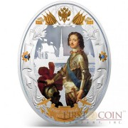 Niue island PETER THE GREAT series RUSSIAN EMPERORS $5 Silver coin 2014 Oval shape High relief Gold plated Proof 2 oz
