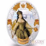 Niue island ANNA IOANOVNA series RUSSIAN EMPERORS $5 Silver coin 2014 Oval shape High relief Gold plated Proof 2 oz