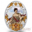 Niue island CATHERINE I series RUSSIAN EMPERORS $5 Silver coin 2014 Oval shape High relief Gold plated Proof 2 oz