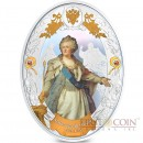 Niue island CATHERINE II series RUSSIAN EMPERORS $5 Silver coin 2014 Oval shape High relief Gold plated Proof 2 oz