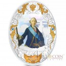 Niue island PETER III series RUSSIAN EMPERORS $5 Silver coin 2014 Oval shape High relief Gold plated Proof 2 oz