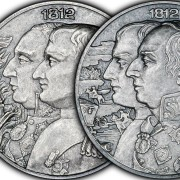 Niue Island KUTUZOV - NAPOLEON WAR OF 1812 Major Historical Event $5 + $5 Two Silver Coin Set 2012 Antique finish 4 oz