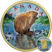 Canada BEAVER Canadian Maple Leaf series THEMATIC DESIGN $5 Silver Coin 2017 Yellow Gold plated 1 oz