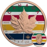 Canada CANADIAN COLORS Canadian Maple Leaf series THEMATIC DESIGN $5 Silver Coin 2017 Rose Gold plated 1 oz