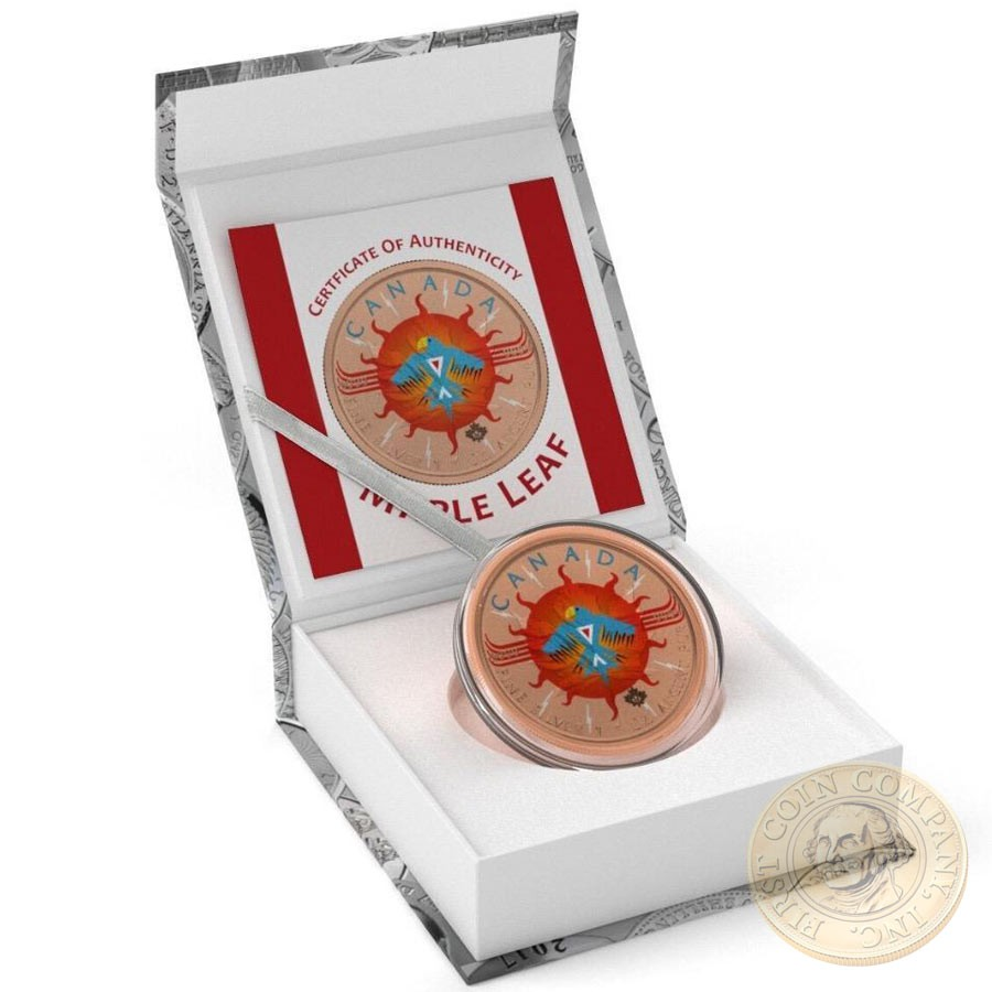 Canada CANADIAN NATIVE SYMBOLS Canadian Maple Leaf series THEMATIC DESIGN $5 Silver Coin 2017 Rose Gold plated 1 oz