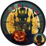 Canada GHOST HOUSE HALLOWEEN Canadian Maple Leaf series THEMATIC DESIGN $5 Silver Coin 2017 Black Ruthenium plated 1 oz