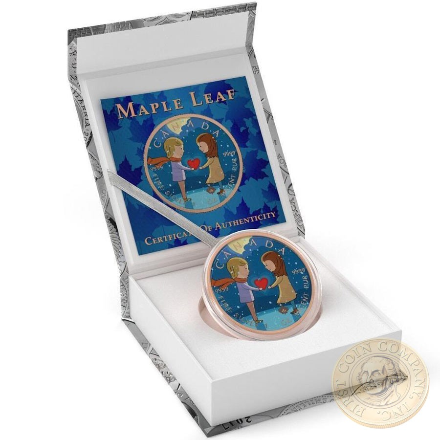 Canada I LOVE YOU Canadian Maple Leaf series THEMATIC DESIGN $5 Silver Coin 2017 Rose Gold plated 1 oz