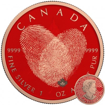 Canada TOUCH OF LOVE Canadian Maple Leaf series THEMATIC DESIGN $5 Silver Coin 2017 Rose Gold plated 1 oz