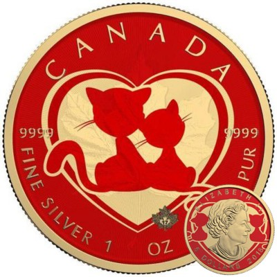 Canada YOU AND ME Canadian Maple Leaf series THEMATIC DESIGN $5 Silver Coin 2017 Yellow Gold plated 1 oz