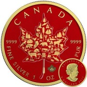Canada CANADIAN ARMOR ICONS SYMBOLS Canadian Maple Leaf series THEMATIC DESIGN $5 Silver Coin 2017 Yellow Gold plated 1 oz