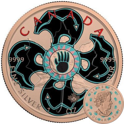 Canada CANADIAN MASCOT Canadian Maple Leaf series THEMATIC DESIGN $5 Silver Coin 2017 Rose Gold plated 1 oz