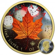 Canada CANADIAN RAIN Canadian Maple Leaf series THEMATIC DESIGN $5 Silver Coin 2017 Yellow Gold plated 1 oz