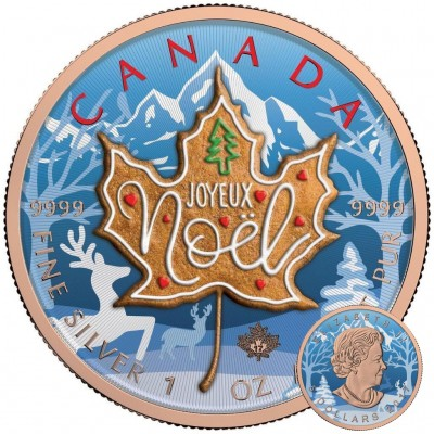 Canada FRENCH CHRISTMAS Canadian Maple Leaf series THEMATIC DESIGN $5 Silver Coin 2017 Rose Gold plated 1 oz