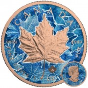 Canada MAGIC FROST Canadian Maple Leaf series THEMATIC DESIGN $5 Silver Coin 2017 Rose Gold plated 1 oz