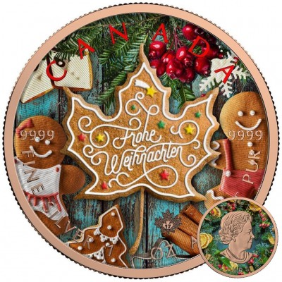 Canada GERMAN CHRISTMAS Canadian Maple Leaf series THEMATIC DESIGN $5 Silver Coin 2017 Rose Gold plated 1 oz