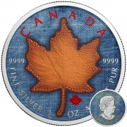 Canada JEANS MAPLE LEATHER LABEL Canadian Maple Leaf series THEMATIC DESIGN $5 Silver Coin 2017 High quality 1 oz
