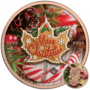 Canada MERRY CHRISTMAS Canadian Maple Leaf series THEMATIC DESIGN $5 Silver Coin 2017 Rose Gold plated 1 oz