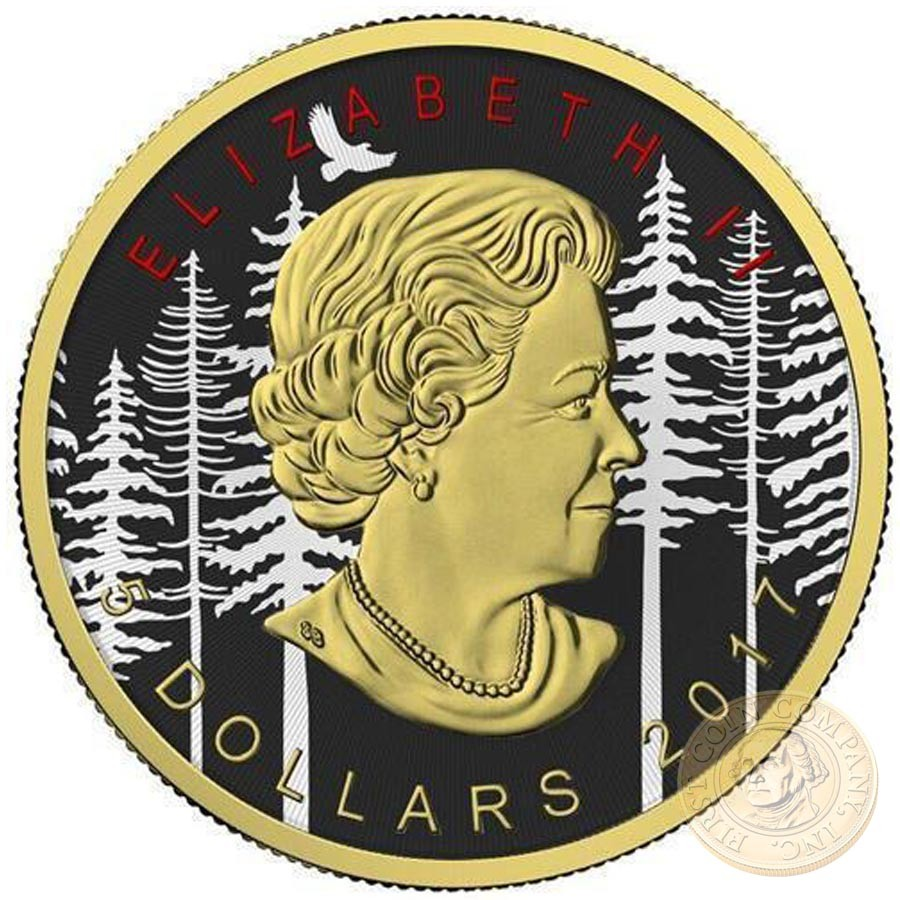 Canada RED ELK Canadian Maple Leaf series THEMATIC DESIGN $5 Silver Coin 2017 Yellow Gold plated 1 oz