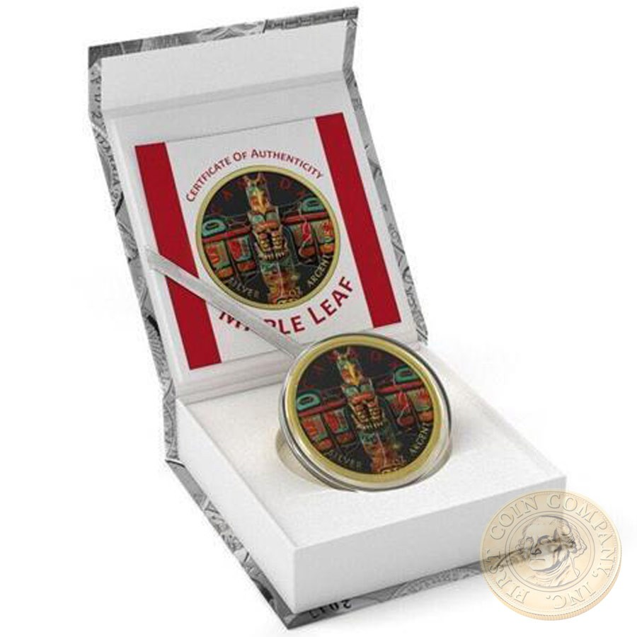 Canada SPIRIT OF CANADA Canadian Maple Leaf series THEMATIC DESIGN $5 Silver Coin 2017 Yellow Gold plated 1 oz