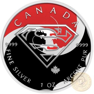 Canada BATTLE SUPERMAN VS BATMAN Canadian Maple Leaf $5 Silver Coin 2016 High relief of S-logo 1 oz