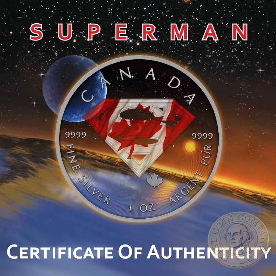 Canada SUPERMAN CANADIAN UNIVERSE Canadian Maple Leaf $5 Silver Coin 2016 High relief of S-logo 1 oz