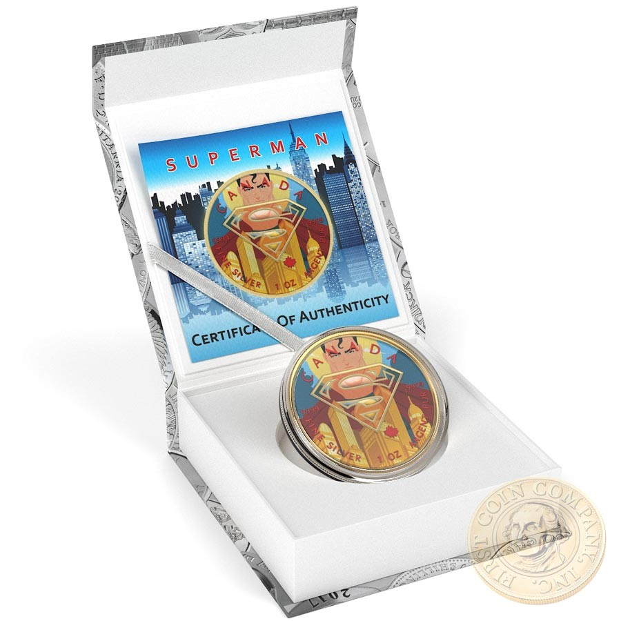 Canada SUPERMAN GOLD CITY Canadian Maple Leaf $5 Silver Coin 2016 High relief of S-logo Yellow Gold plated 1 oz