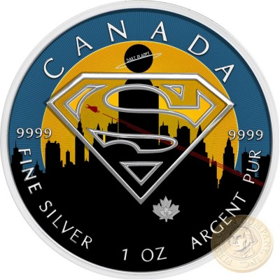 Canada SUPERMAN LEGENDARY DAILY PLANET Canadian Maple Leaf $5 Silver Coin 2016 High relief of S-logo 1 oz